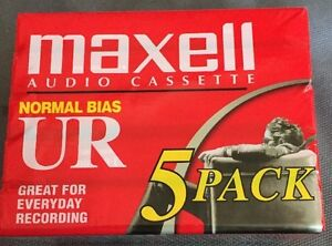 Lot-of-5-New-Maxell-UR-90-Normal-Bias-Cassette-Tapes-Blank-90-Minutes-Sealed