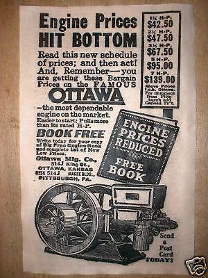 "VINTAGE REPRINT ADVERT OTTAWA 1923 HIT /& MISS GAS ENGINE 11/""x17/"" 257"