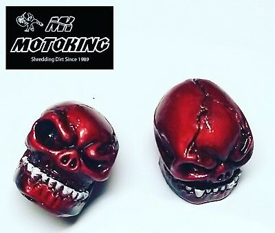 Pair MotoKing Bmx Voodoo Skull Red Vale Caps