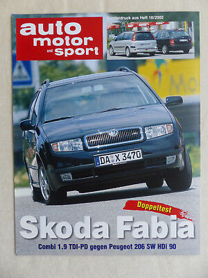 Sonderdruck Ams Heft 18/2002 Waren Jeder Beschreibung Sind VerfüGbar Flight Tracker Skoda Fabia Combi Vs Peugeot 206 Sw Doppeltest
