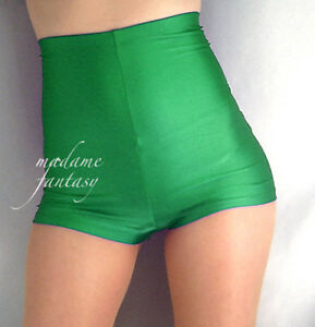 MADAME FANTASY SHINY SPANDEX SHORTS HOT PANTS SILVER XS S M L XL XXL XXXL