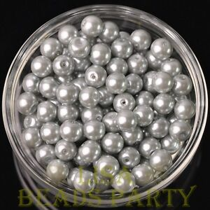 New-30pcs-8mm-Round-Glass-Pearl-Loose-Spacer-Beads-Jewelry-Making-Light-Gray