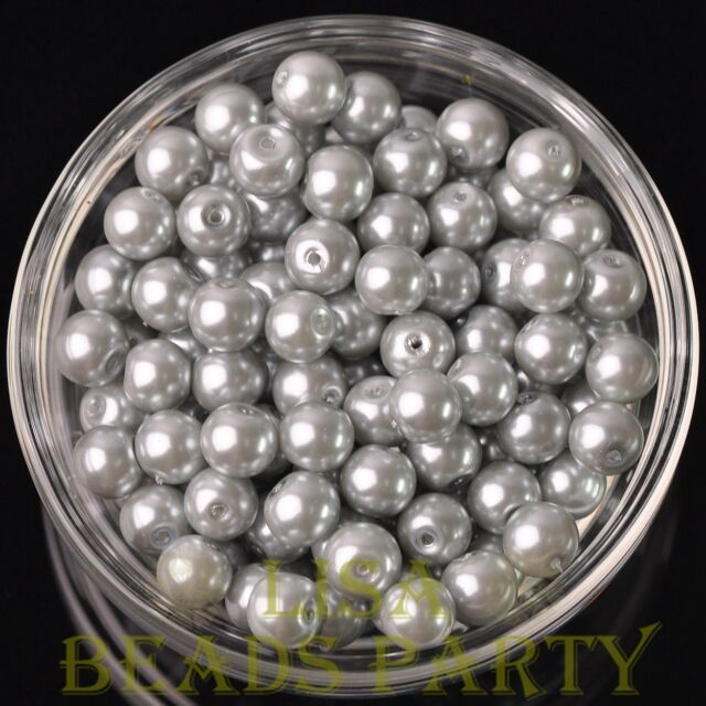 New 30pcs 8mm Round Glass Pearl Loose Spacer Beads Jewelry Making Light Gray