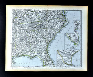 Alabama United States Map.1892 Stieler Map Georgia Florida North Carolina Virginia Alabama