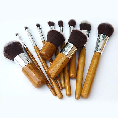 Professional 11pcs Natural Wooden Handle Cosmetic Makeup Brush Kit Set
