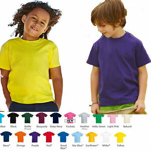 kids t shirts plain Boy Girls fruit of The Loom Children/'s Youth T-Shirts Childs