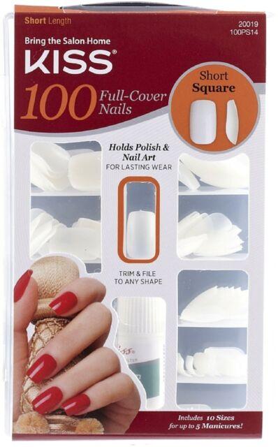 KISS 100 Full Cover Nails Kit, Short Length, Square 1 ea ...