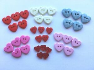 Details about Heart Shaped buttons 2 hole - 5 colours - 3 sizes - Various  pack sizes