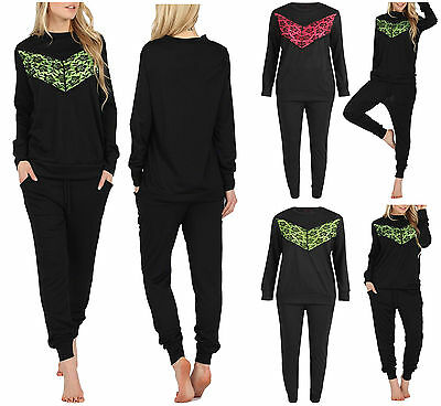 New Womens Ladies Lounge Wear Set Sweatshirt Joggers Knit Lace Tracksuit Pants