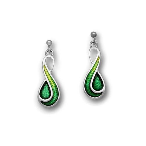 Ortak Prairie Emerald Green Drop Earrings Ee350 Silver Gl Enamel