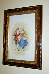 Antique-Victorian-Oil-on-Milk-Glass-Painting-Baroque-Original-Wooden-Frame-Old