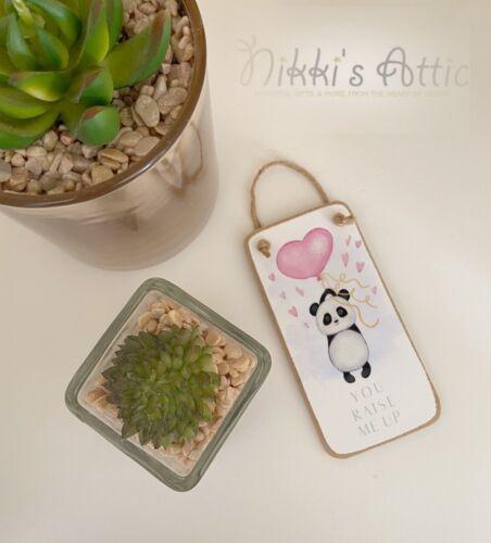 Novelty Gift Sign Birthday Present Token Gift.Wooden Panda Love Mini Plaque