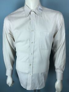 Mens-Nicole-Miller-NY-15-5-15-1-2-Medium-32-33-White-Shirt-Beige-Thin-Striped