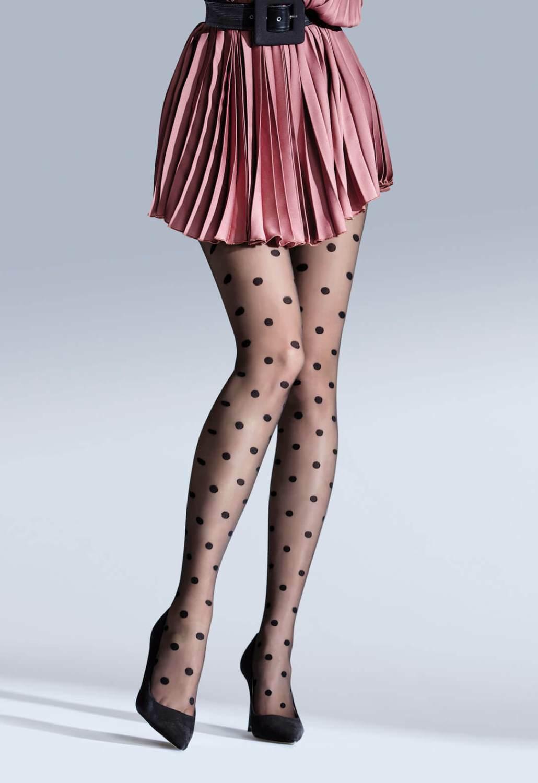 Damen Strumpfhose mit Punkten Polka Dots Feinstrumpfhosen Pantyhose 40 Den