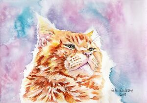 Ginger-King-original-watercolor-animal-painting-pet-cat-kitty-kitten-red-art