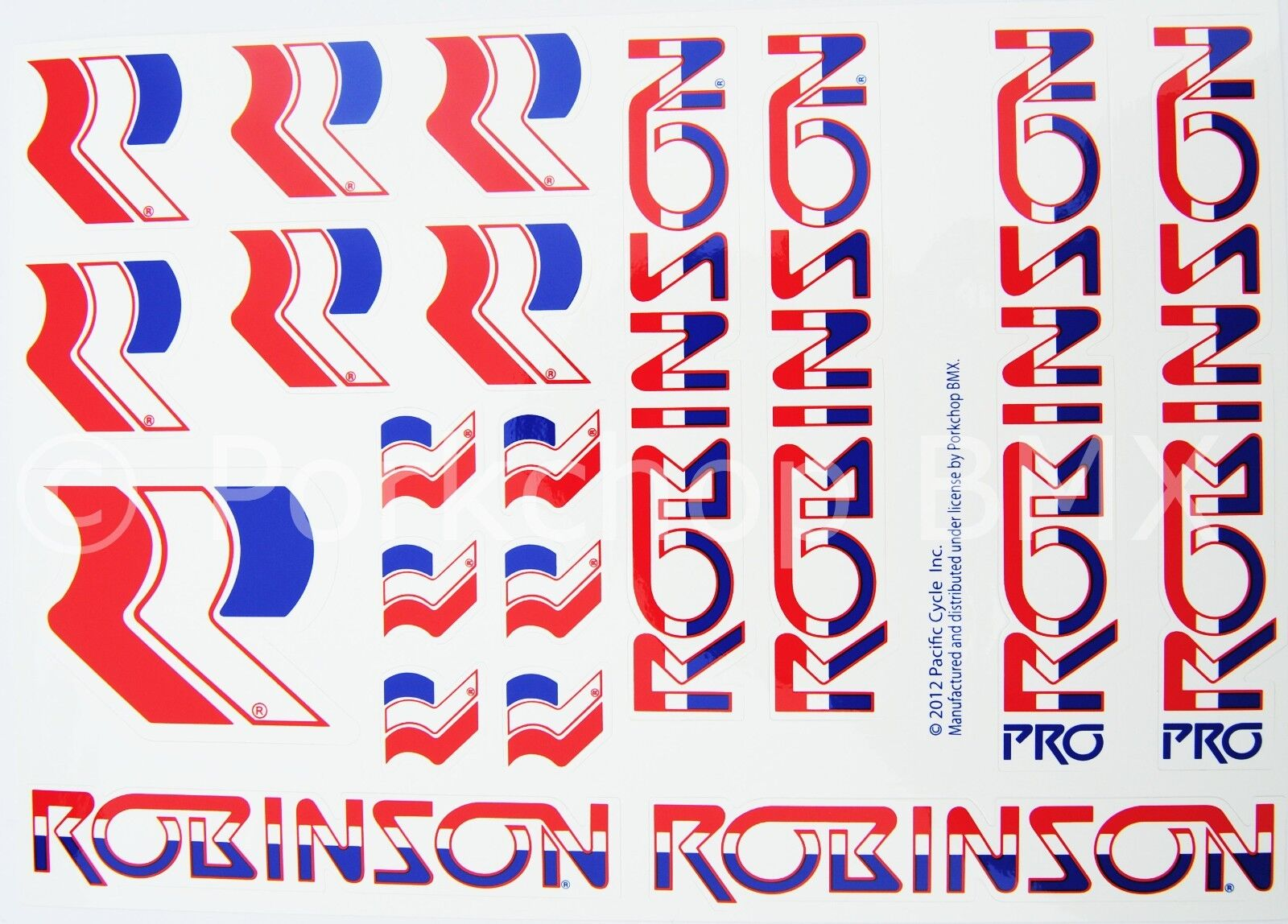 Officially licensed Robinson Pro and Regular  BMX decal set 1980-83 on WHITE  with 60% off discount