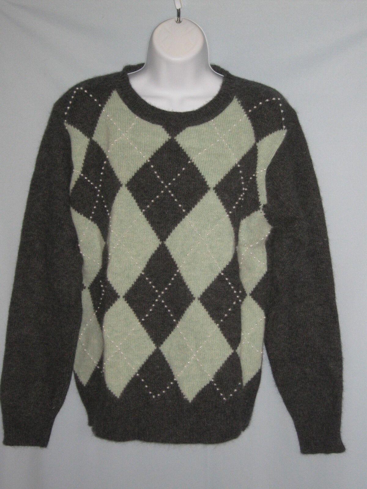 Saks Fifth Avenue Argyle Sweater Lambs Wolle Angora Beads NWT Sz Medium  CL136