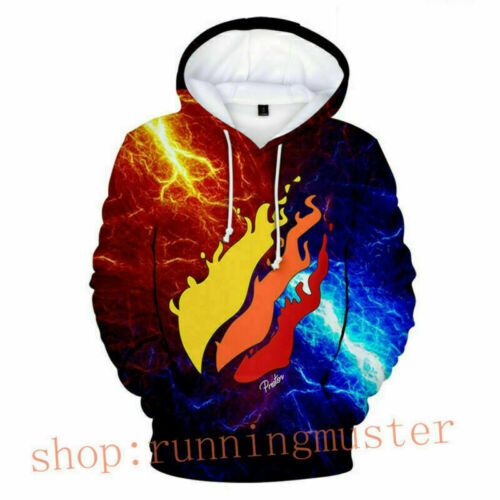 Kids Boys Girls Prestonplayz Flame Thunder Hoodies Pullover Jumper Hooded Top