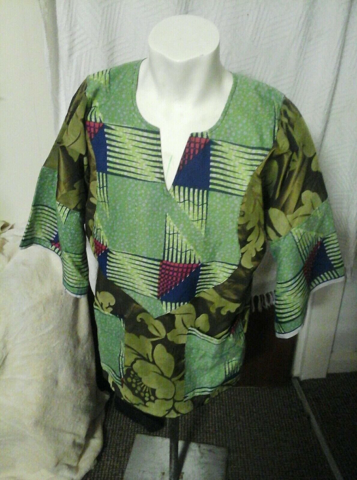 Homemade Men African Shirt Top free size. XL to fit chest 44Rin. Length 28ins