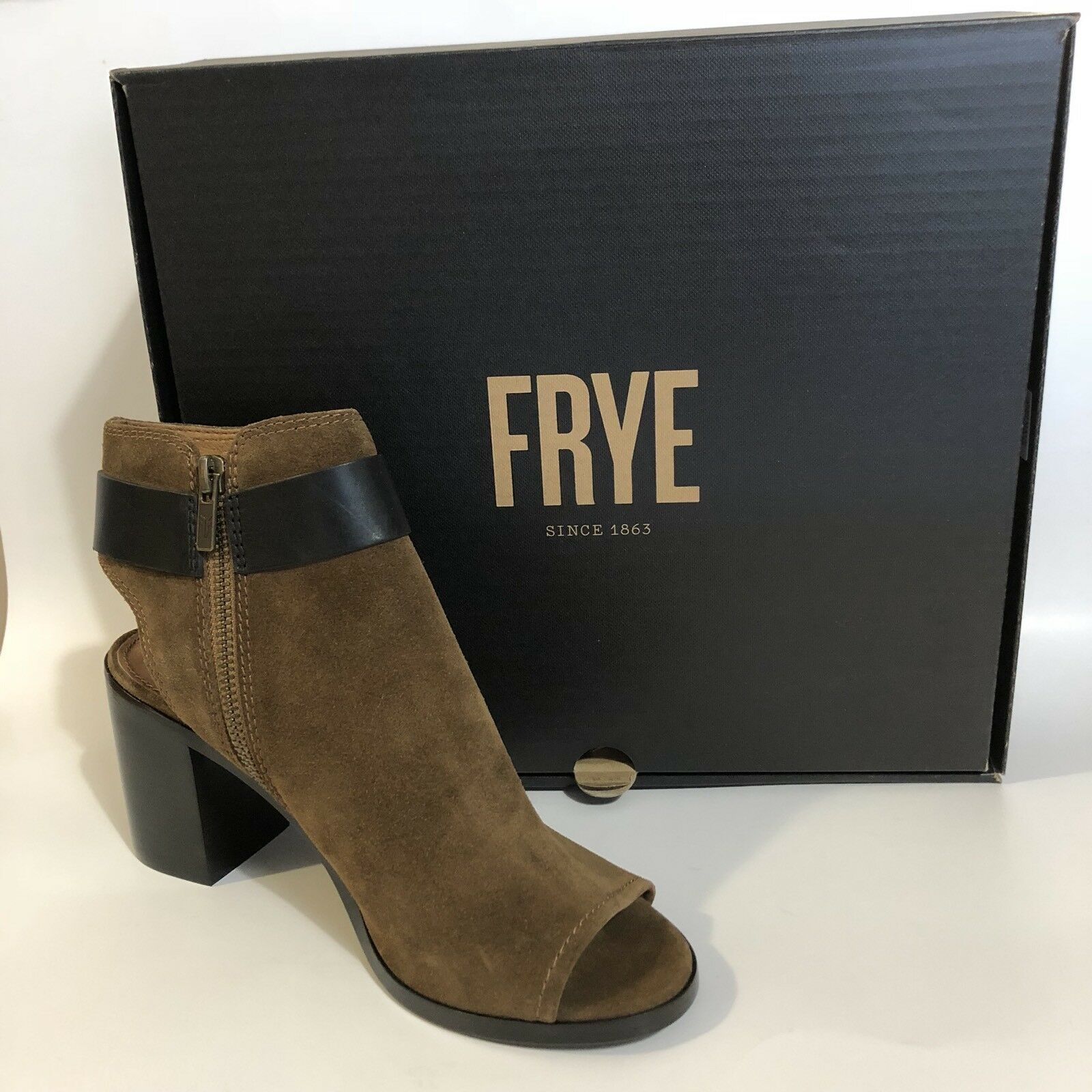 Frye Danica Harness Peep Toe Bootie Boot Suede Chestnut Brown Size 8 Buckle Zip