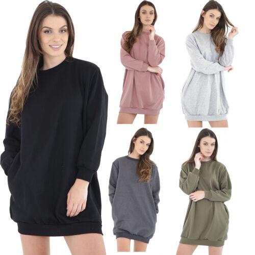 New Womens Ladies Oversized Baggy Longline Long Sleeve Jumper Dress Top UK 8-18