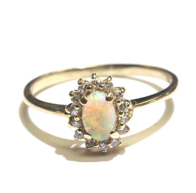 14k yellow gold .14ct SI1 G diamond Opal women's ring 2g ladies estate