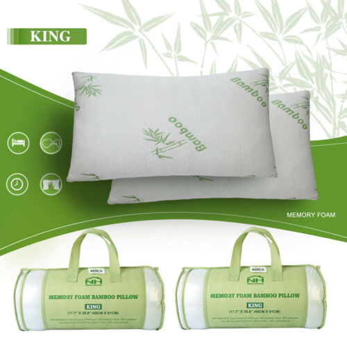 2 Pack Memory Foam Pillows Bamboo King /& Queen Size Hypoallergenic w//Carry Bag