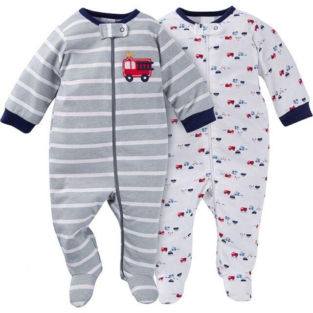 Details about  /Gerber Baby Neutral 2 Pack Organic Cotton Sleep N Plays Size Newborn Safari