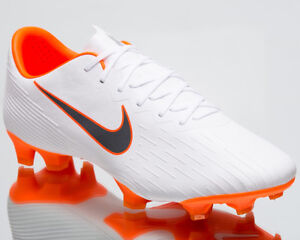 Nike Mercurial Vapor XII Pro FG White Grey Football Soccer Cleats ... 82c33012986e6