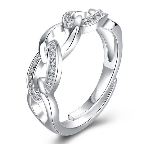Fashion 925 Sterling Argent Massif Bijoux Cristal Géométrie Anneaux pour femmes R728