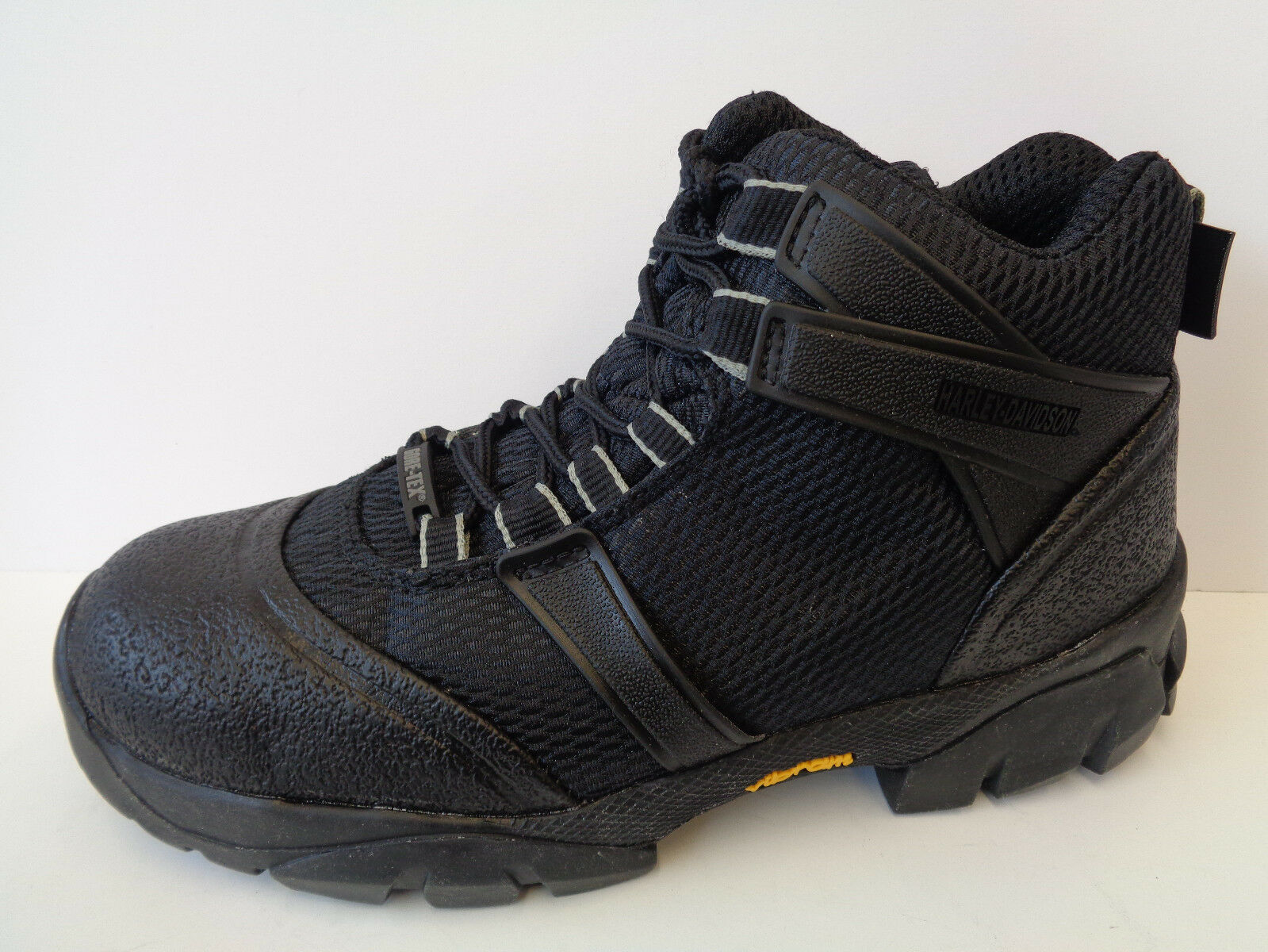 Mens Black Lace Up Gore Tex Vibram Harley Davidson Walking Boots Surge Hiker