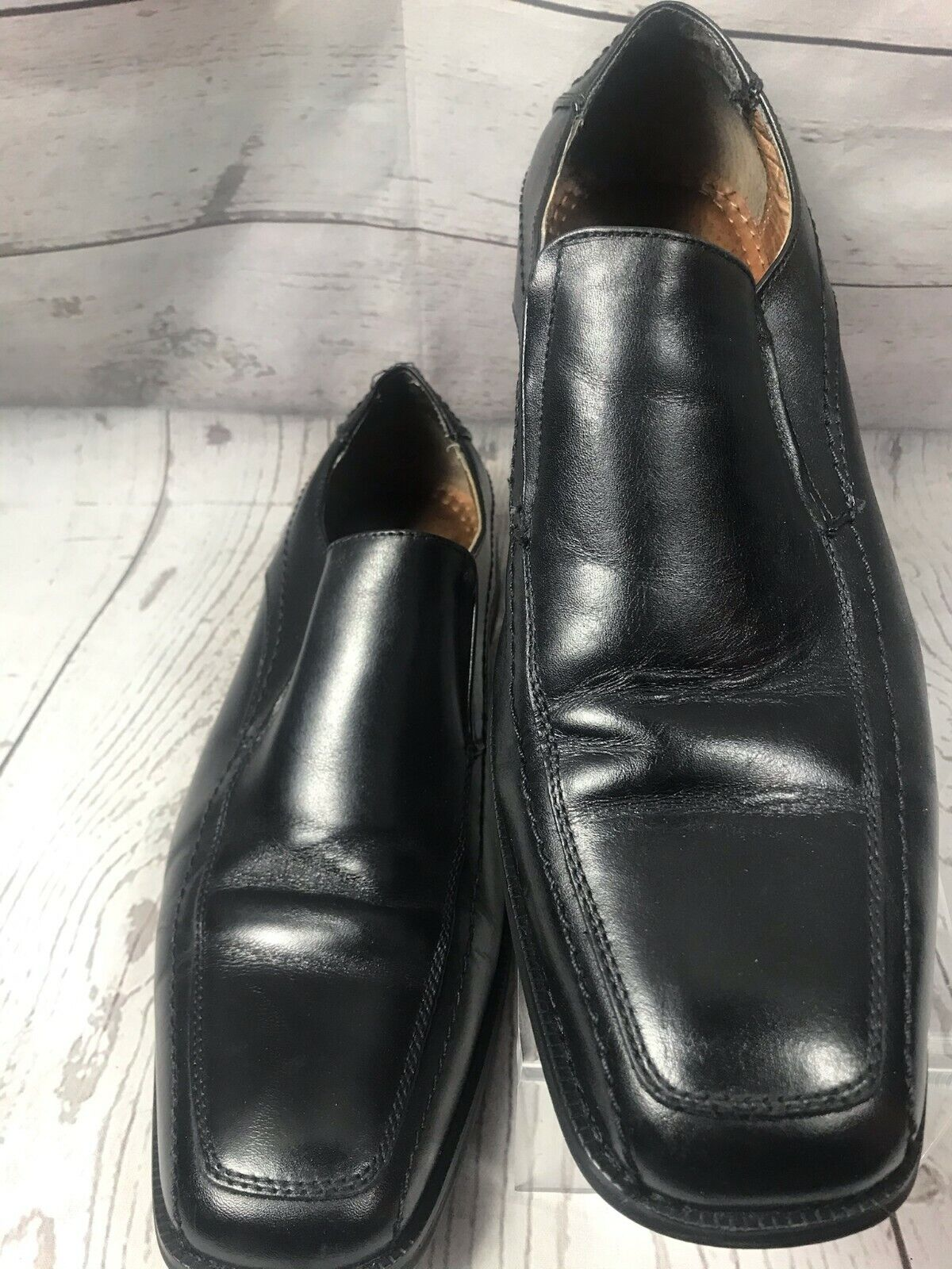 JOSEPH ABBOUD Men's Leather Black Dress Shoe /Size 10M /Man Made Genuine Leather