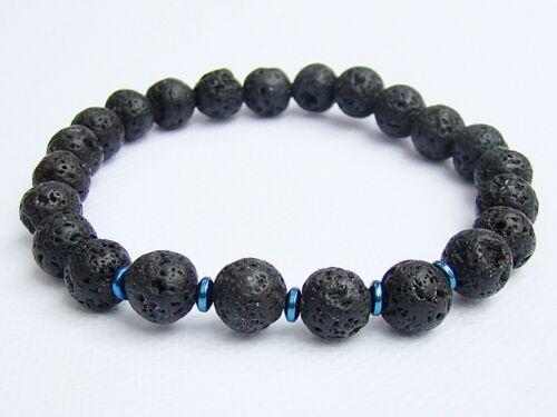 Elasticated BLACK LAVA Men/'s 8mm beads gemstone streachable bracelet