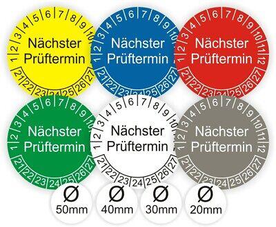 Prüfplaketten Nächster Prüftermin UVV DGUV Ø:20-50mm UV-RESISTENT-KRATZFEST B33