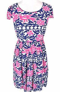 Anthropologie-Maeve-Dress-Sz-4-Peralta-Fit-Flare-Blue-Pink-Floral-Bird-Print