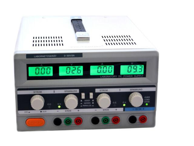 Duales regelbares Labornetzgerät 0-30V 5A beleuchtet LCD Labornetzteil 2 Kanal