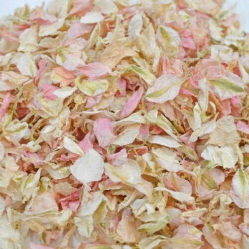 1200 Delphinium confetti Petals biodegradable Natural Pink and Ivory mix
