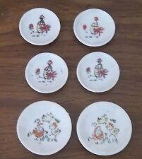 6 Plates Vintage Child's Mini Dining Set Bird Chicken Chicks Eggs Japan Ceramic