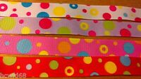 4 x 28cm 15mm Mixed Grosgrain Circles Bubbles Ribbon Cardmaking Scrapbooking A