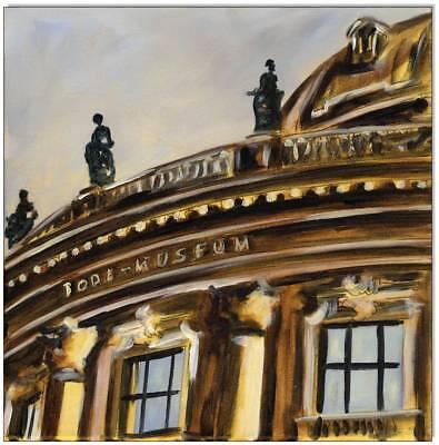 KLAUSEWITZ: ORIGINAL ACRYL GEMÄLDE AUF LEINWAND:BODEMUSEUM MUSEUMSINSEL/30x30 cm
