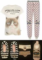 PRIMARK LADIES GRUMPY CAT PYJAMA SEPARATES PYJAMAS 6-20 T SHIRT TOP TEE BOTTOMS