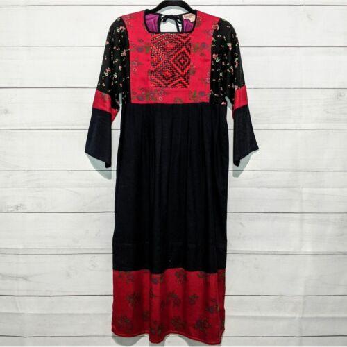 Vintage Kandahar 70s Boho Cotton Midi Dress Made i
