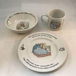 Image is loading Wedgwood-Vintage-1980s-Peter-Rabbit-Childs-Nursery-Set- & Wedgwood Vintage 1980s Peter Rabbit Childs Nursery Set Dinnerware 4 ...