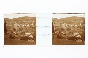 Villefranche Port Francia Costa Azzurra Foto Stereo Placca Da Lente L8n7 Vintage