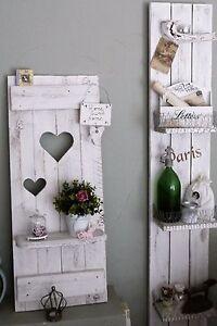 Shabby chic fensterladen regal mit herzen holz nordisch deko altwei patina ebay - Fensterladen vintage ...