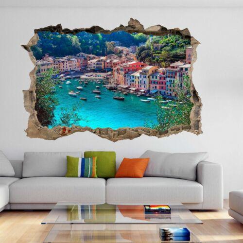 Portofino Italy Fishing Village Coastline Wall Stickers Mural Decal Decor BC15