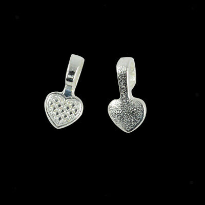 100pcs Silver White Heart Glue on Bails Setting For Necklaces Pendant