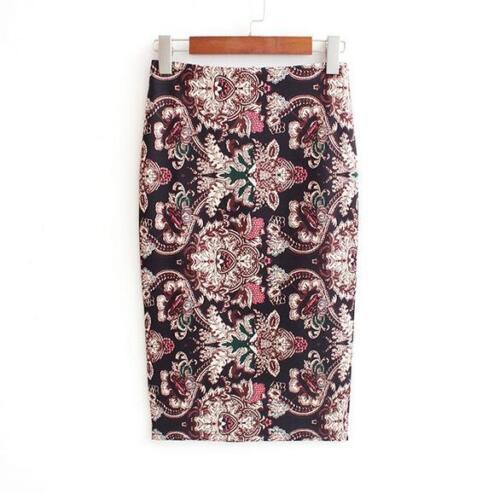 Vintage Summer Women Elegant Printed High Waist Elastic Bodycon Pencil Skirt