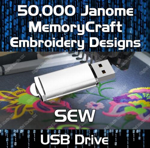 50,000 Janome MemoryCraft Embroidery Designs motif de fichiers Sew sur USB