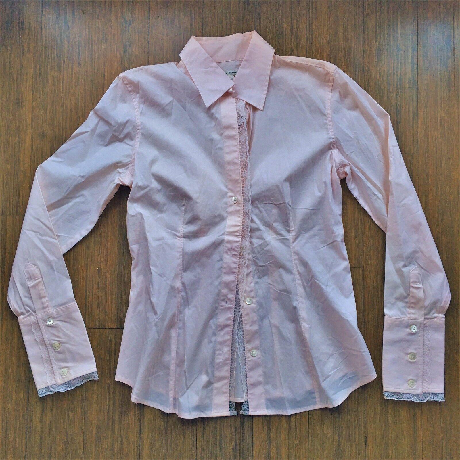 NWT Banana Republic Light Rosa Scalloped Lace Trim Button Up Down Shirt Blouse S